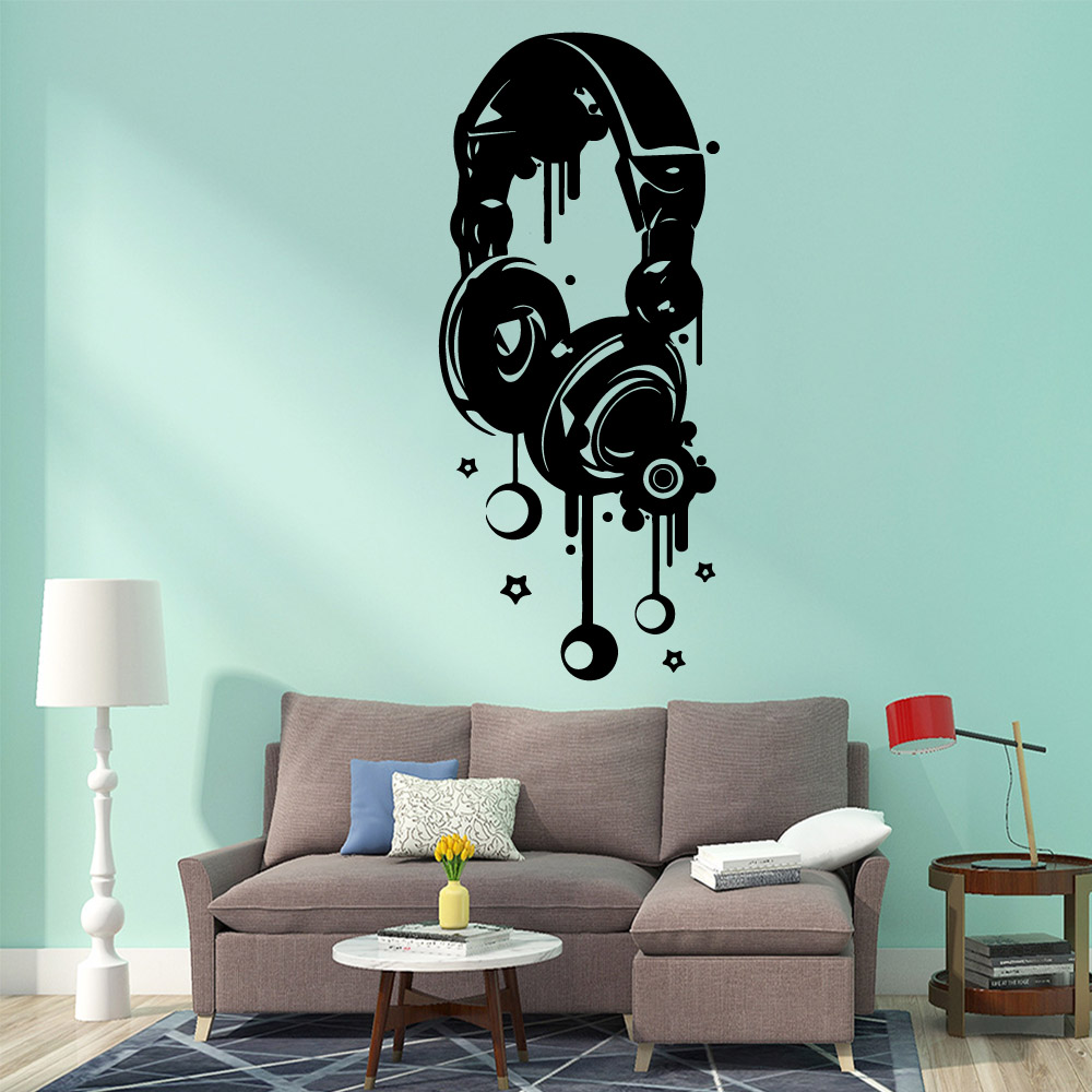 Large earphone music Wall Stickers Modern Fashion Wall Sticker vinyl Stickers Room Decoration stickers muraux