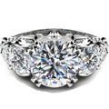 Five Stone Diamond Engagement Ring Unique 9K Solid White Gold Wedding Band 1.5CT Round Simulated Diamond Floral  Gold Ring