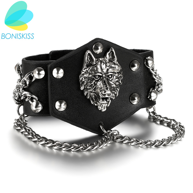 Boniskiss 2017 Punk Wolf Charm Leather Bracelet Men Vintage Wide Cuff Bangles Wristband Male Jewelry Pulseras Hombre