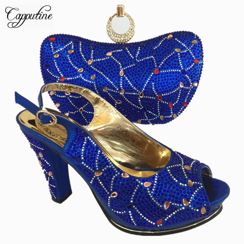 Capputine Hot Sale Italian Woman High Heels Party Shoes And Bag Set African Pumps Shoes And Matching Bag Set For Wedding BL755C red shoes and bag set for wedding high quality italian shoes and matching bag set with stones african heel pumps 1308 l55