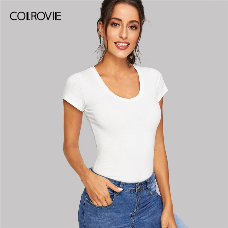 Colrovie White Scoop Neck Solid Fitted Casual T Shirt