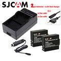 DC Cargador de Batería Dual DC + 2x batería SJ4000 SJCAM + Euro/cable de coche para DVR SJ4000 SJ5000 SJ5000X SJ8000 SJ7000 M10 cámara de Acción