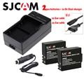 DC Dupla SJCAM SJ4000 Carregador de Bateria DC + 2x bateria + Euro/cable car para DVR SJ4000 SJ5000 SJ5000X SJ8000 SJ7000 M10 câmera de Ação