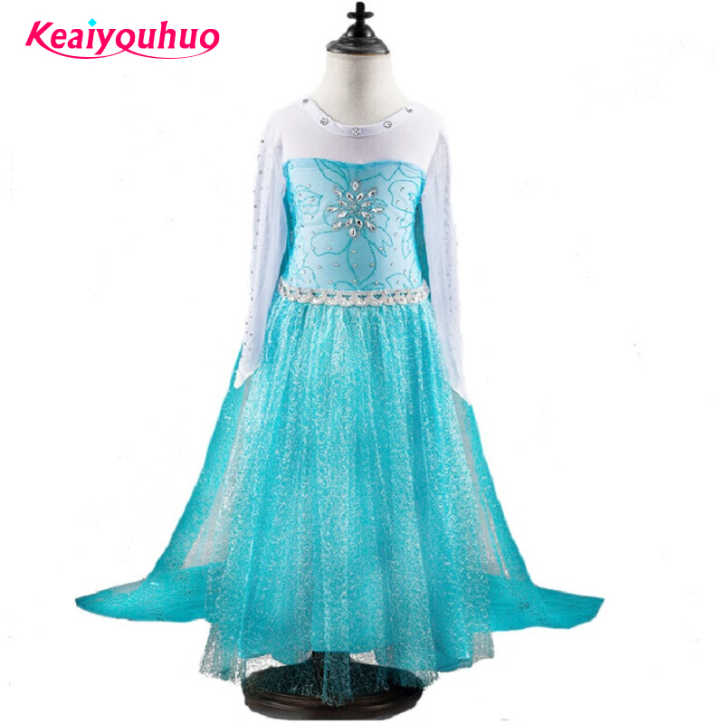 High quality 2016 New arrive blue elsa Costumes Girls Cosplay party Dress Princess anna Christmas vestidos elsa free shipping free shipping amagi brilliant park latifah fururanza 100cm blond wavy cosplay wig spot high quality