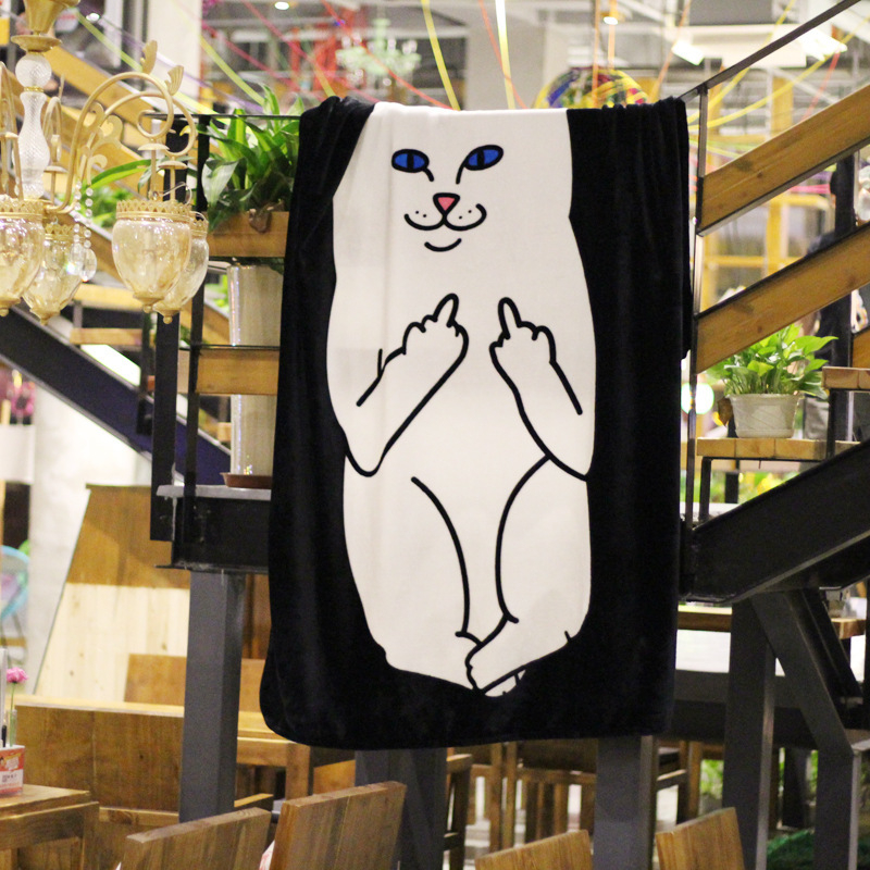 150*200cm Famous Ripndip Lord Nermal Blanket Soft Fleece Black White Fashion Blankets Throw on Bed Cover Sheet Free Shipping