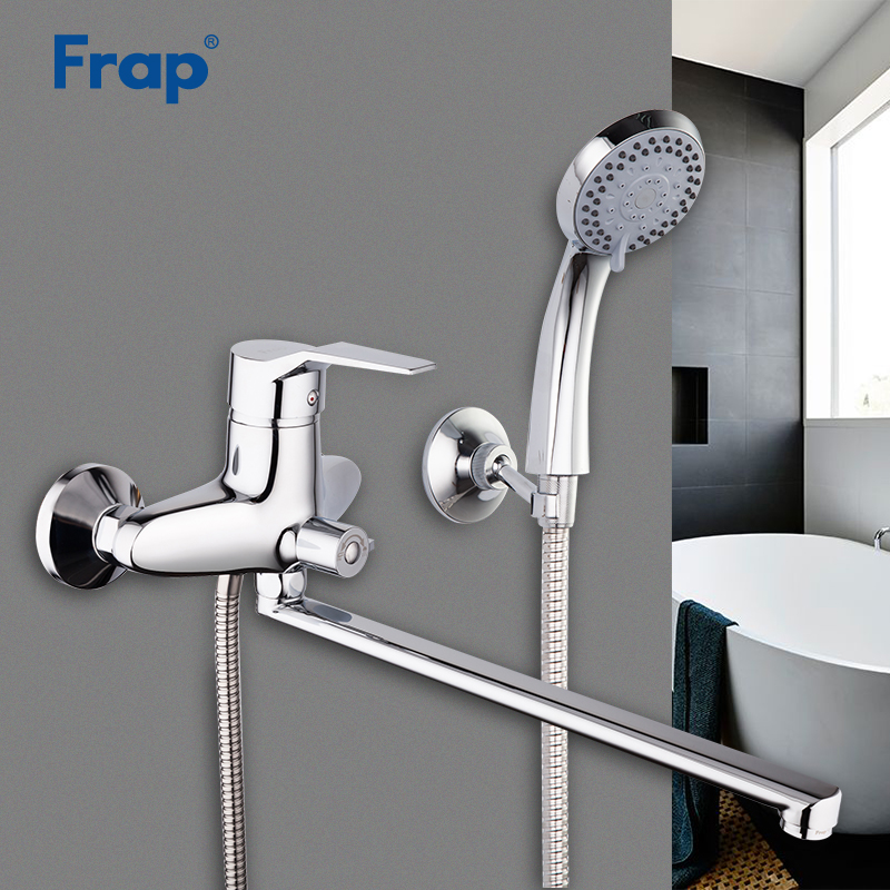 Frap New Arrival 1 Set Bathroom Faucet Chrome Finished Tap 35cm Rotation Long Nose Cold And Hot Water Mixer Single Handle F2263
