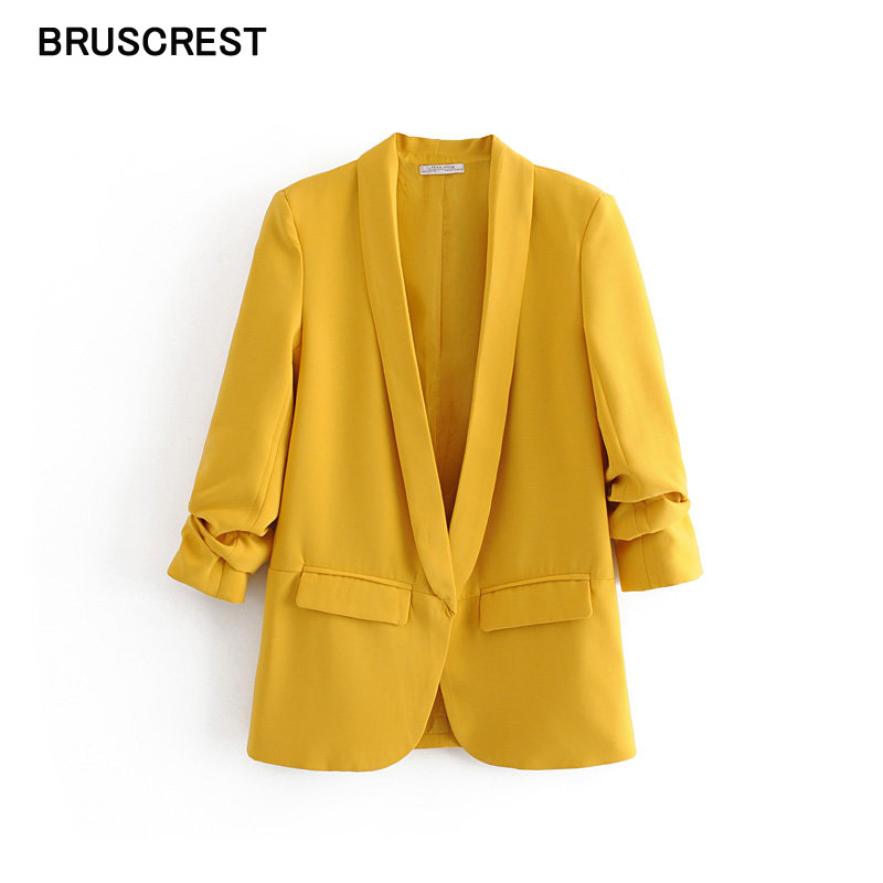2019 Autumn Vintage Women Blazers And Jackets Mujer Office Lady Yellow Blazer Feminino Pockets Outerwear Coats Female