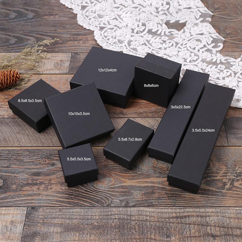 Купить с кэшбэком Wholesale 12 Pcs/Lot Black Kraft Paper Jewelry Box Bracelet Bangles Necklaces Rings Box Christmas Gift Jewelry Box Dropshipping