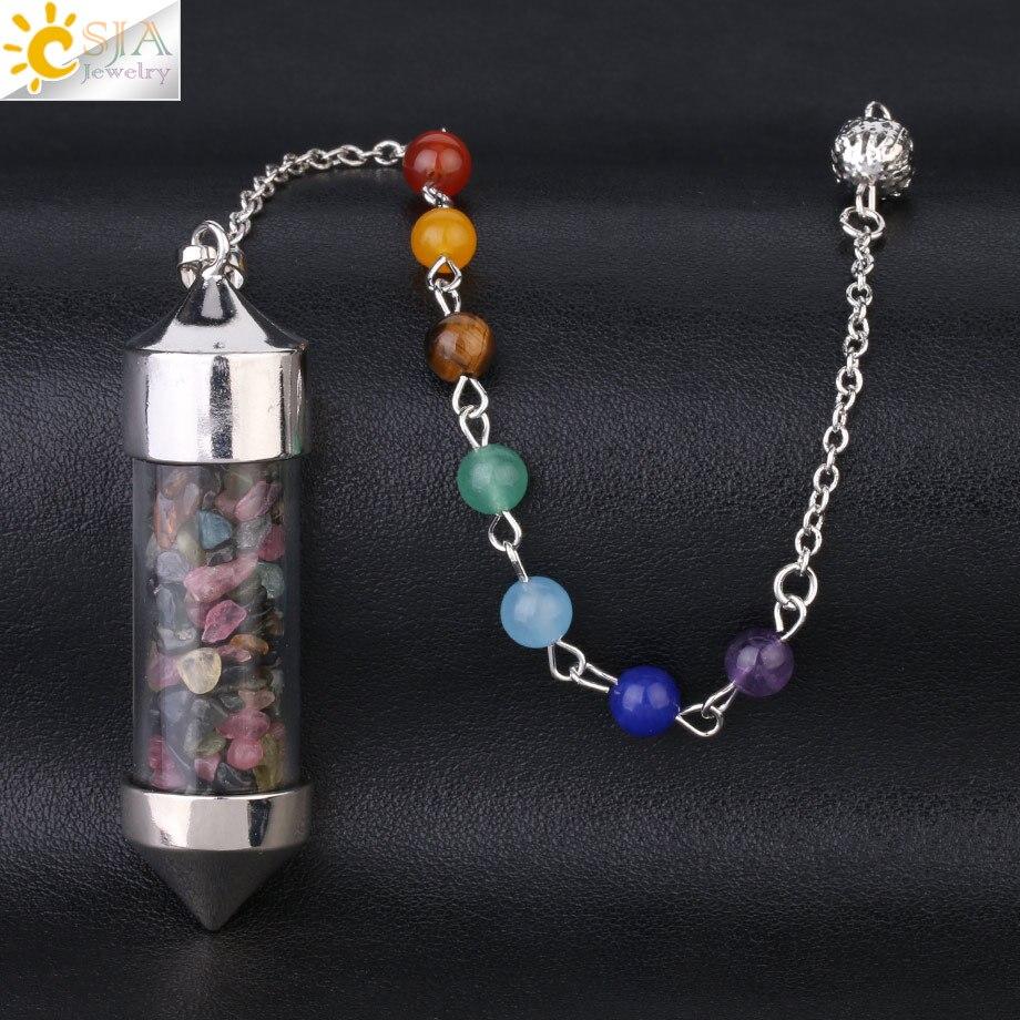 CSJA Новое поступление 7 Чакра Желая бутылка маятник рейки натуральный чип камень кулон ожерелье для женщин мужчин гадания амулет F976 - Окраска металла: Colorful Tourmaline