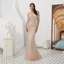 Beauty-Emily Beads Tassels Evening dress luxury crystal slit manual party Women special occasion Dress vestido de noiva