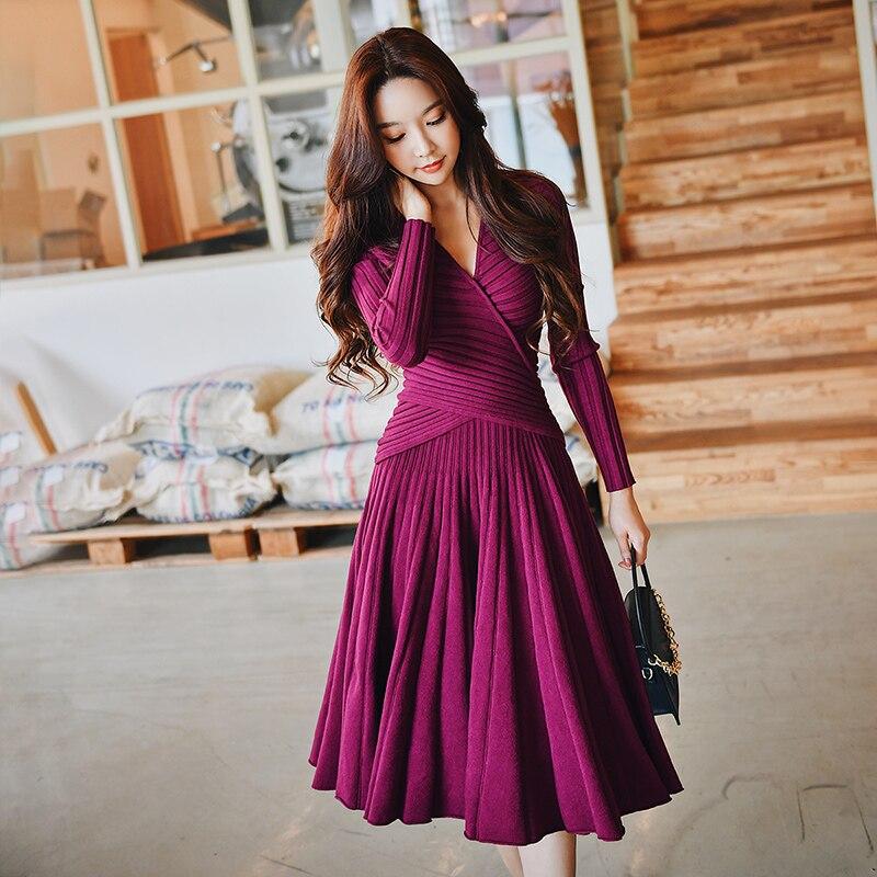 Dabuwawa hiver élégant robe tricotée costumes femmes Vintage fête de noël Rose violet une ligne robe ensemble pour filles dame D18DSA011