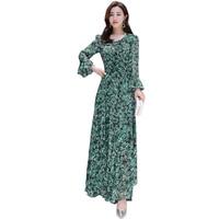 Spring Summer Beach dress Bohemian women Floral printed long dress Elegant V neck sexy Bell sleeve long sleeve casual Vestidos