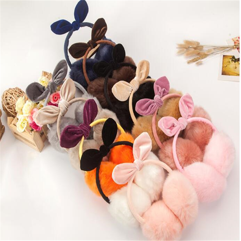 New Adjustable Elegant Rabbit Fur Winter Earmuffs For Women Warm Earmuffs Ear Warmers Gifts For Girls Cover Ears Fashion Brand