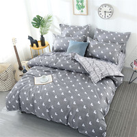 Gray white lovely bedding set 4pcs stripe flat sheet pillowcase&duvet cover set AB side bed linens 100%polyester bedclothes kids
