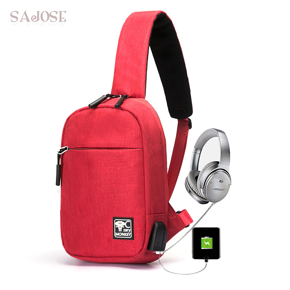 Crossbody Bags for Women Messenger Unisex Chest Bag Girl Fashion Casual Canvas USB Charging Headphone Shoulder School Bag SAJOSE