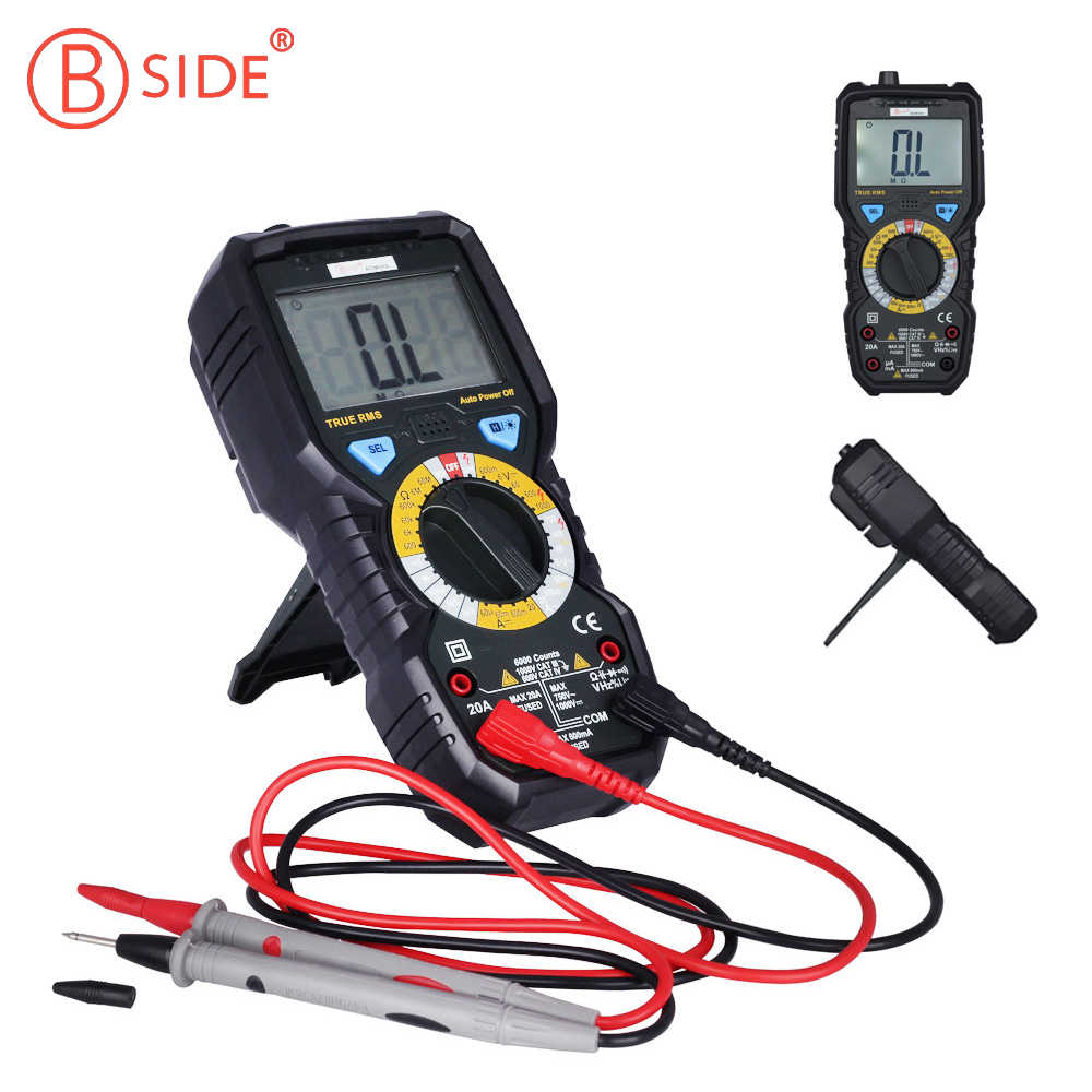 BSIDE ADM08A True RMS Digital Multimeter AC DC Volt Current Tester Multi Meter Temperature Measurement Tool with 6000 Counts professional victor vc890c digital multimeter true rms multimeter 2000uf capacitor temperature measurement