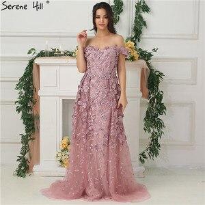 Image 4 - 핑크 오프 어깨 수제 꽃 이브닝 드레스 2020 민소매 크리스탈 섹시한 럭셔리 이브닝 가운 실제 사진 la6596
