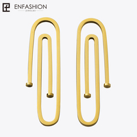 Enfashion Jewelry Geometric Long Pipe Dangle Earrings Gold Color Stainless Steel Long Drop Earrings For Women