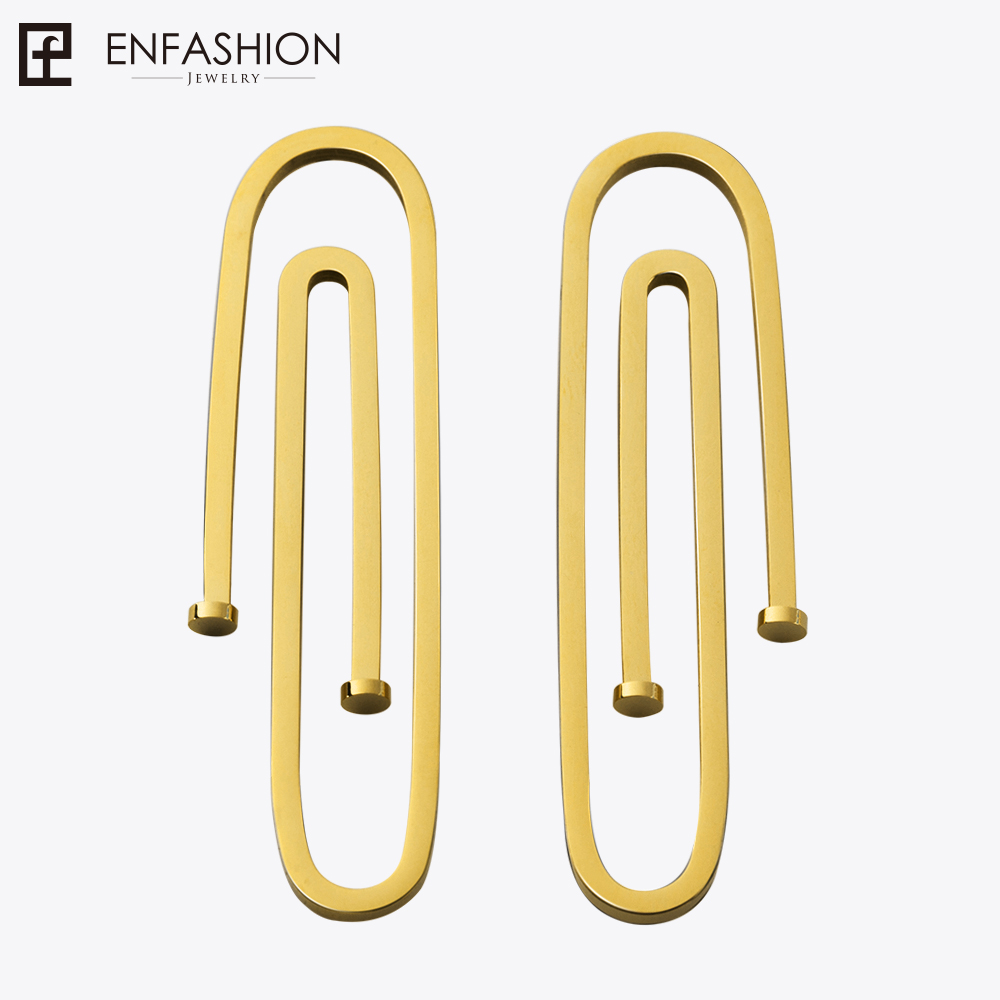 цена на Enfashion Jewelry Geometric Long Pipe Dangle Earrings Gold color Stainless steel Long Drop Earrings For Women Earings EB171031