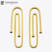 Enfashion Jewelry Geometric Long Pipe Dangle Earrings Gold Color Stainless Steel Long Drop Earrings For Women
