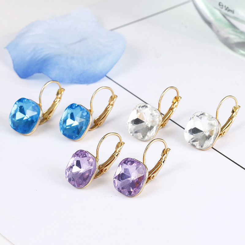 E0257 New Arrival Fashion Pink Blue Crystal Earrings For Women Girls Vintage Drop Earrings Statement Wedding Jewelry Wholesale 4