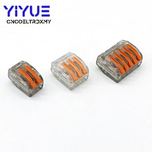 WAGO mini fast Wire Connector,222-412/413/415 Universal Compact Wiring Connector Conductor Terminal Block Transparent 10pcs lot wago mini fast wire connector 222 413 pct213 universal compact wiring connector 3 pin conductor terminal block