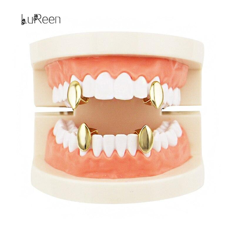 LuReen 4PCS Gold Teeth Grills Top Bottom Grills Set Vampire Tooth Grills Dental Teeth Caps Halloween Jewelry LD0113
