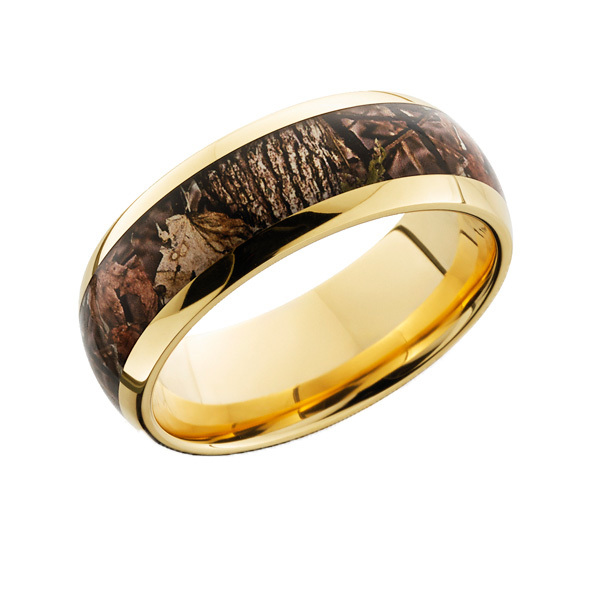 shardon mens gold color plated titanium brown woodland camo wedding ring with polished finishing ring for men 8mm - Mens Camo Wedding Ring