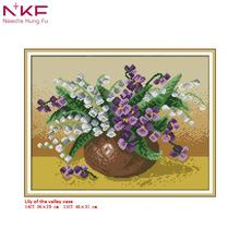 NKF new Cross Stitch Kit Lily of the valley vase needlework DMC 11/14 CT DIY handmade embroidery Kit for room decor and gift все цены