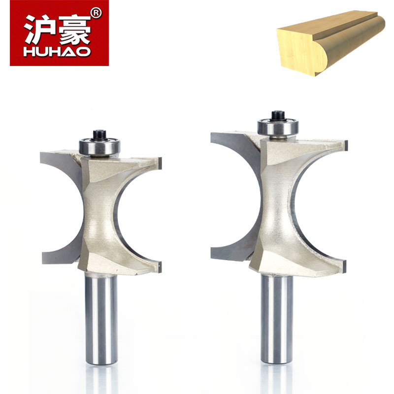 HUHAO 1pc 1/2 1/4 inch Shank Half Round bit 2 Flute Endmill Router Bits for Wood With Bearing Woodworking Tool Milling Cutter point cut round over groove 1 4 1 4 woodworking tool needle nose cutters wood cnc router bits endmill manufacturer tideway 2886