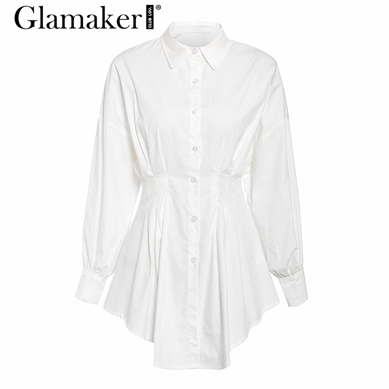 Glamaker Batwing sleeve white mini dress Women office lady pleated blouse shirt dress Autumn high waist slim elegant short dress 3