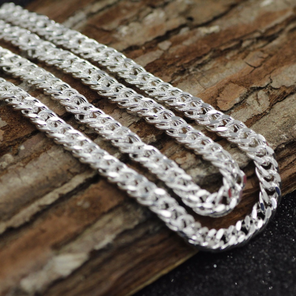 wholesale silver 5mm wide Men's Necklace 20inch Free shipping, silver - Fashion Jewelry - Photo 3