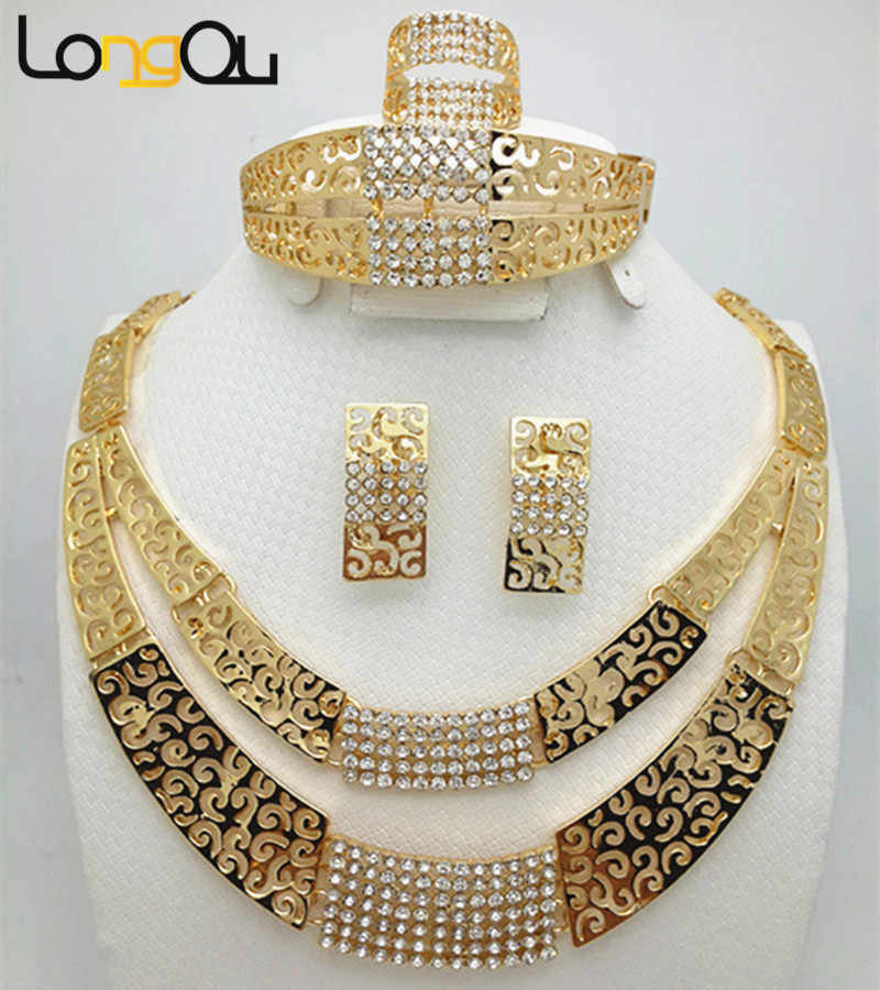 2018 Fashion Women Dubai Gold-color Jewelry Sets Big Nigerian Wedding African Jewelry Sets african beads jewelry set