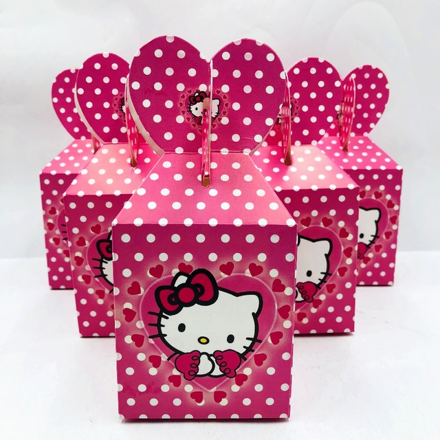 6pcs Hello Kitty Baby Shower Decorations Ideas Favour Boxes Hello