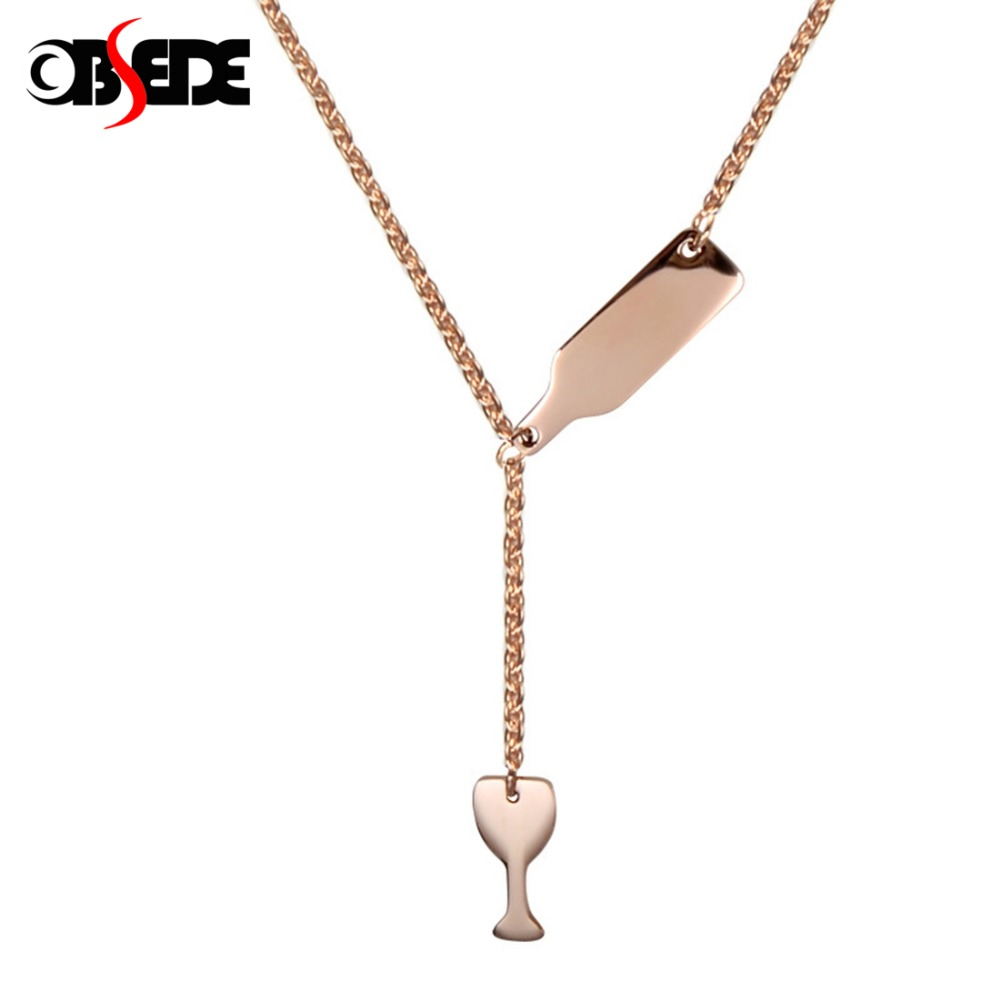 Fashion Women/'s Gold Silver Cup Bottle Pendant Stainless Steel Necklace Jewelry