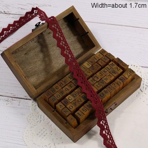 Zakka Стиль хлопковая кружевная лента швейная лента, бежевая Кружевная Сетка, крутая кружевная тесьма(17 мм x 50 ярдов - Цвет: Wine Red