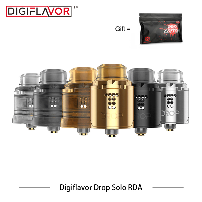 Original Digiflavor Drop Solo RDA single coil 22mm drop with two caps standard 510 and BF Squonk 510 pin deep base Vape Atomizer цена