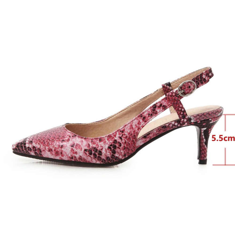 Meotina Yüksek Topuklu Ayakkabılar Kadın Yılan Baskı Ince Yüksek Topuklu Arkası Açık Iskarpin Ayakkabı Toka Sivri Burun Bayanlar Pompaları Bahar Büyük Boy 4-12