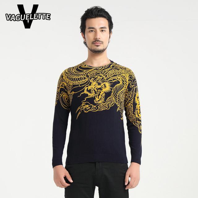 Novidade Dragão Chinês Homens Pullover 2016 Moda Impresso O Pescoço Camisola dos homens de Malha Marinha De Ouro Camisola Para Homens M-4XL