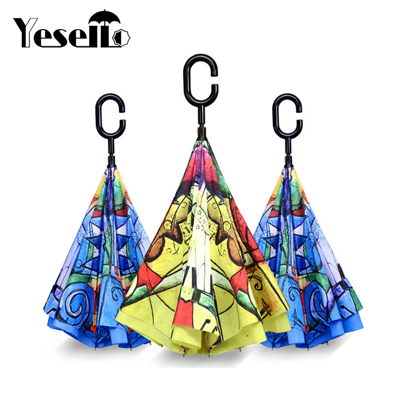 Double Layer Inverted Inverted Umbrella Is Light And Sturdy Grape Cute Fruit Character Set Reverse Umbrella And Windproof Umbrella Edge Night Reflect