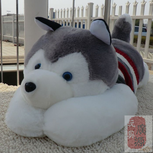 Husky Furry Toy Dogs Lying Lovely Dog Toys With Clothes Birthday