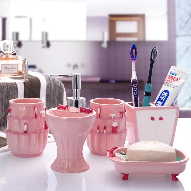 5 pcsset pink sweet series bathroom supplies wash set creative fashion resin bathroom accessories set wedding gift