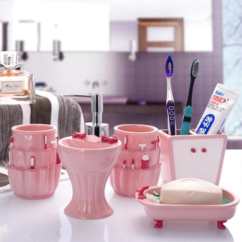 5 pièces/ensemble rose douce série salle de bains fournitures lavage ensemble créatif mode résine salle de bains accessoires ensemble cadeau de mariage