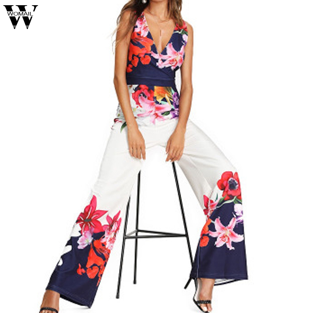Womail bodysuit Women Summer Fashion Sleeveless Sexy Floral Print Simple Zipper Beach Sundress long   Jumpsuits   Holiday 2019 A29