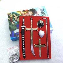 One Piece Zoro Knife Buckle With Scabbard Sword Weapon Keychain
