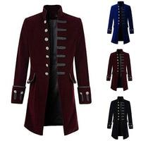 Adult Men Steampunk Jacket Suit Uniform Victorian Costume Vintage Slim Fit Frock Coat Black Lightweight Trench Overcoat For Men