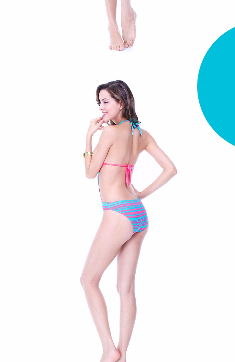 Foclassy new sexy swimsuit stripe push up plus size 3xl women swimwear one piece bathing suit with high waisted swimwear 7009 9