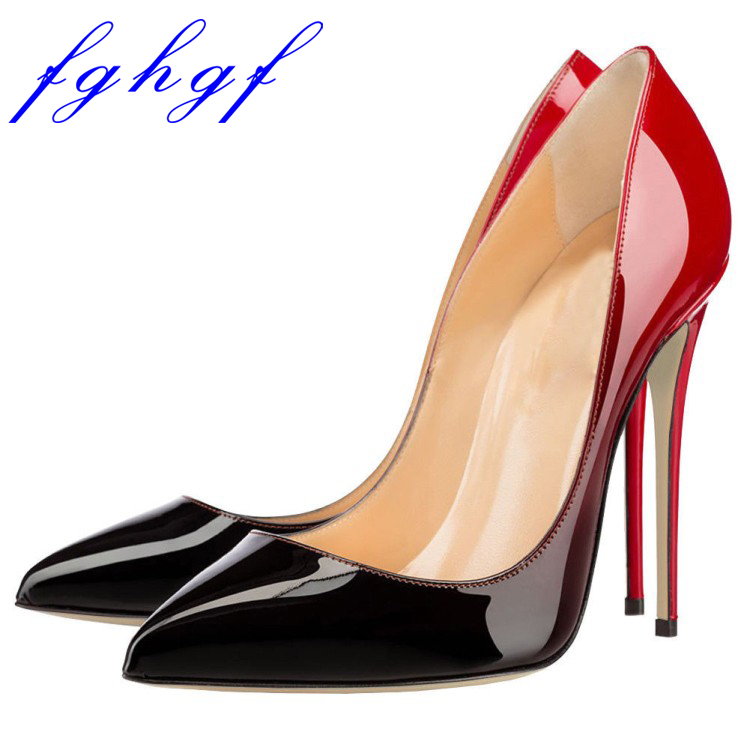 Fghgf 2018 New 12cm heel height pointed head double color sexy wedding shoes with multiple colors