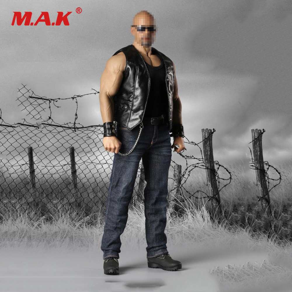 1 6 Scale Male Clothes Set Accessory F 073 Leather Sleeveless Moto Jacket Sets For Male