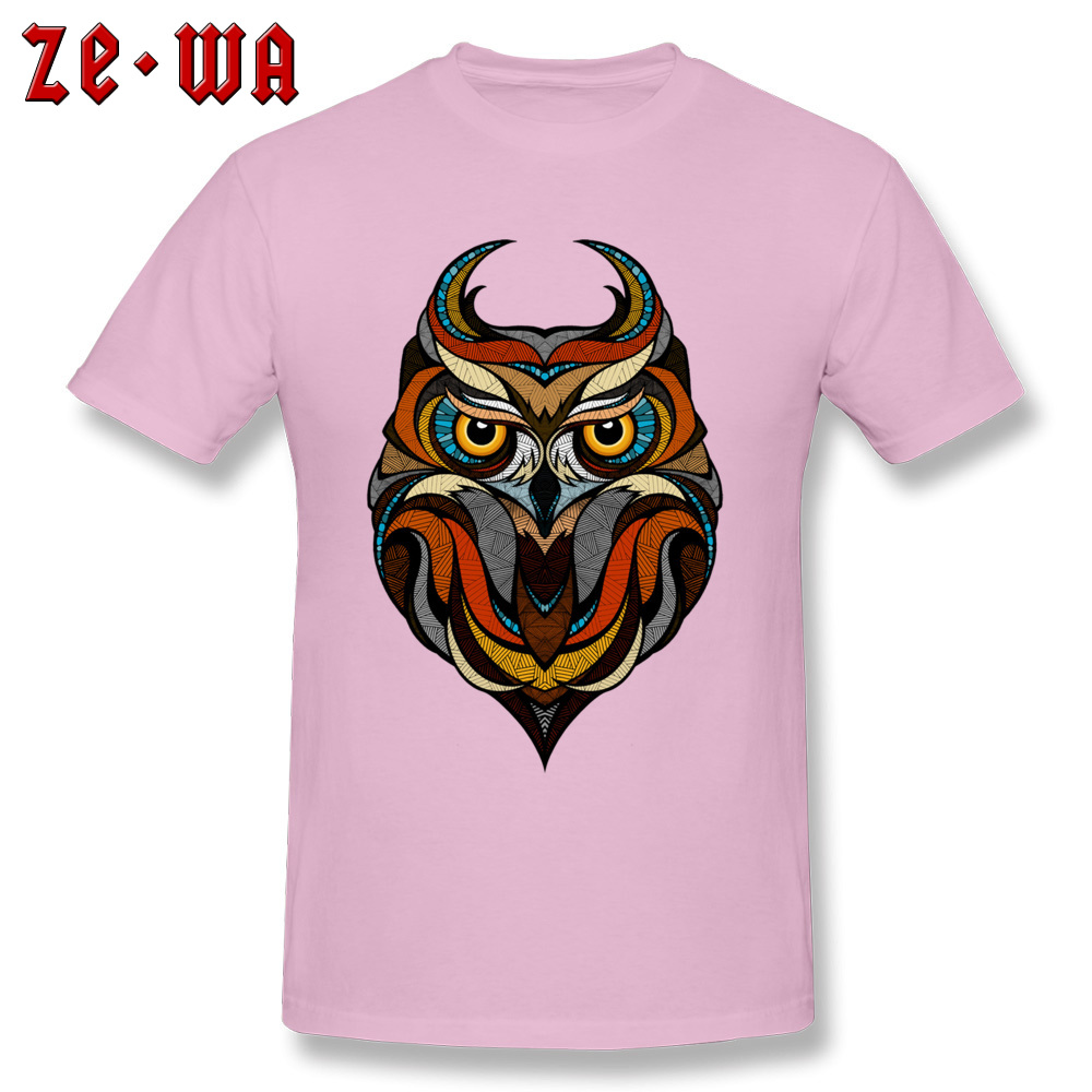 Customized Decorative Owl Mens T-Shirt 2018 Summer Short Sleeve Crewneck 100% Cotton Tops T Shirt Printing Tops T Shirt Decorative Owl  pink